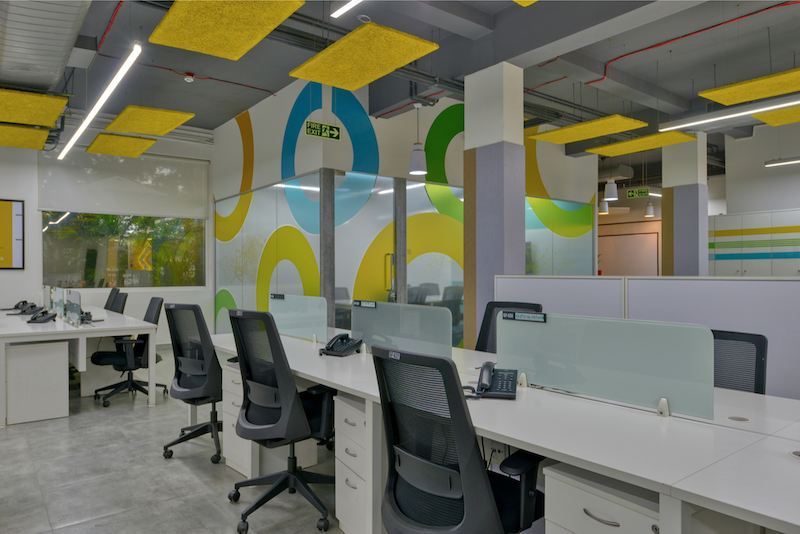 Titan Bengaluru Office designed by Hidecor - Office Floor Graphic Wall background