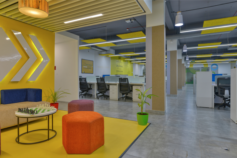 Titan Bengaluru Office designed by Hidecor - Meeting Corner - Bright Yellow - Chess