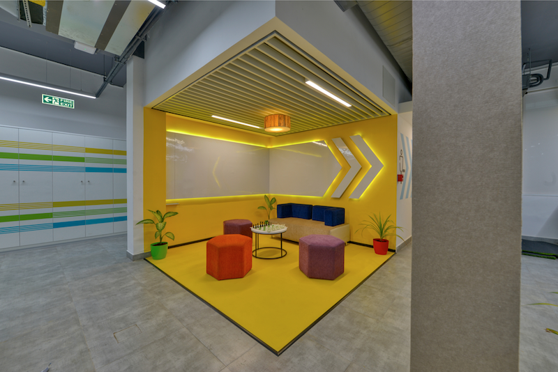 Titan Bengaluru Office designed by Hidecor - Collaborative Corner - Bright Yellow